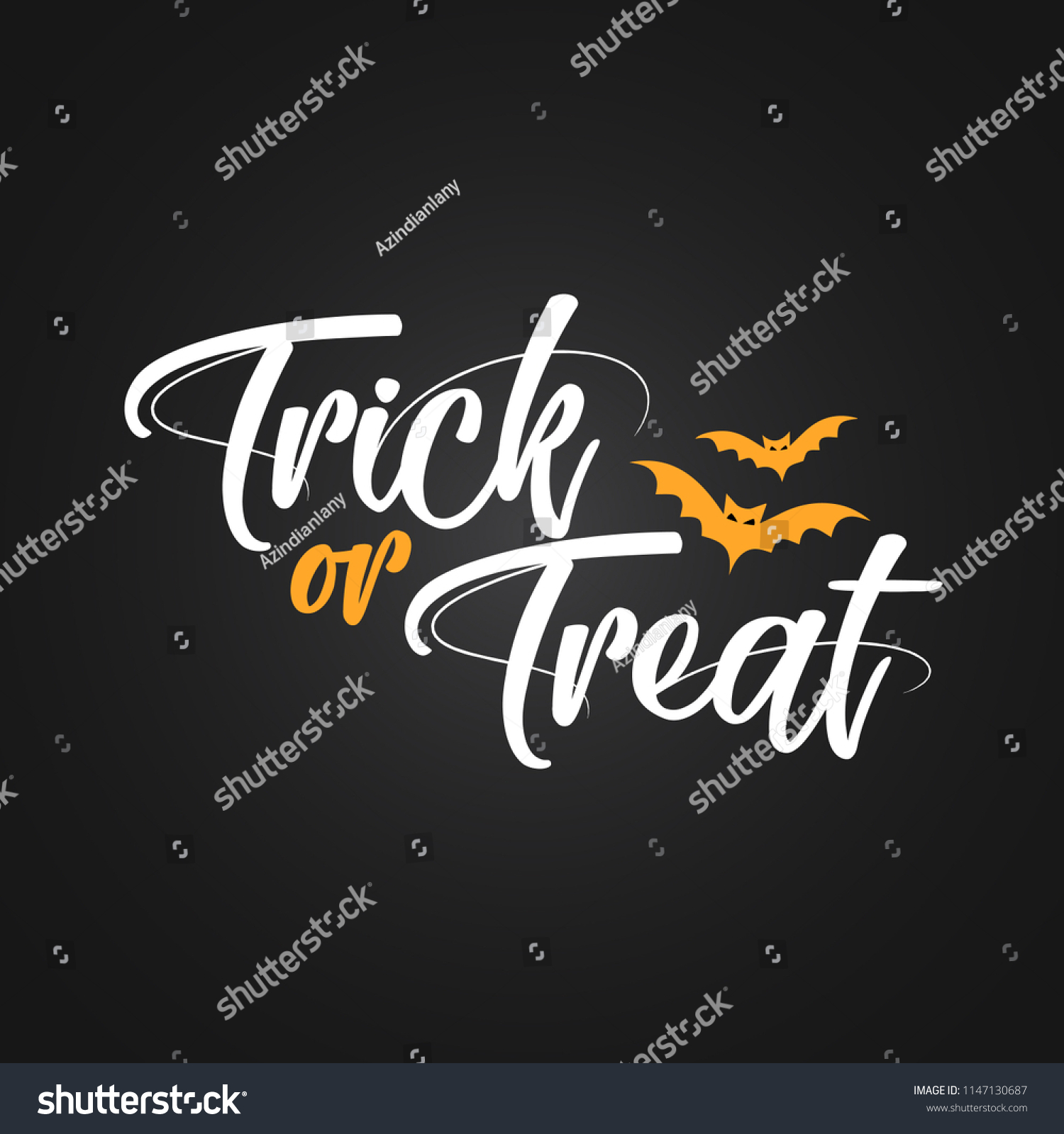 trick treat halloween quote on black stock vector (royalty free