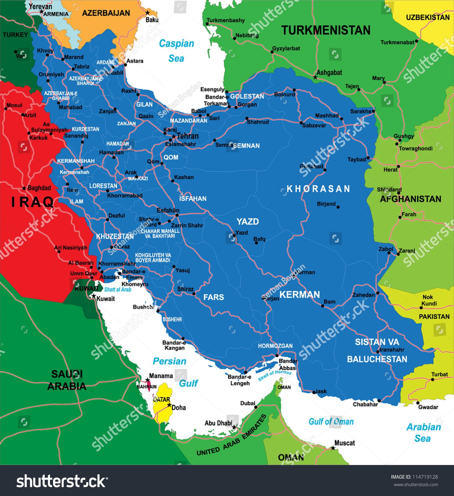 Iran Map Stock Vector Shutterstock - Iran map