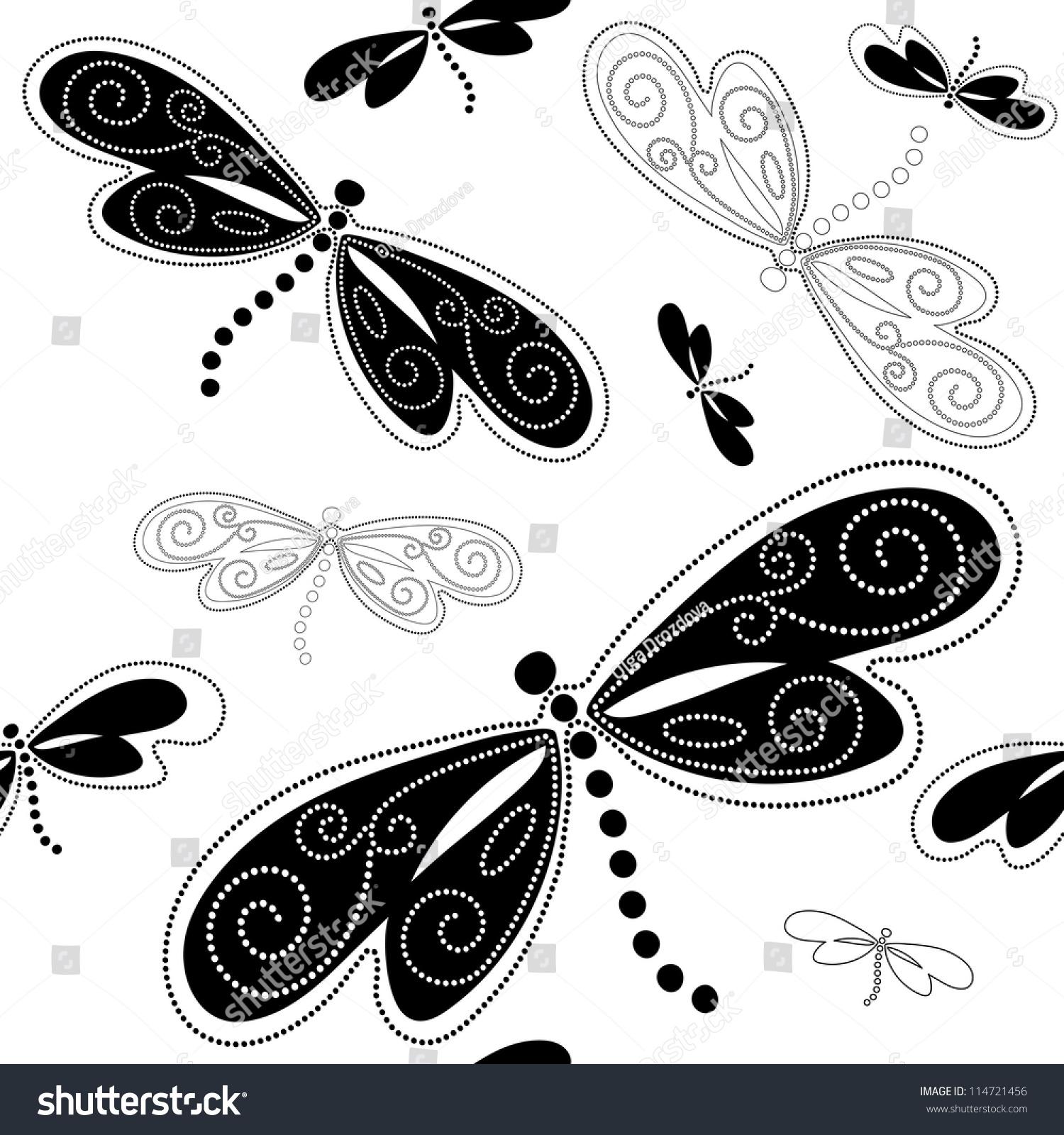 Seamless White Pattern Black Dragonflies Vintage Stock ...
