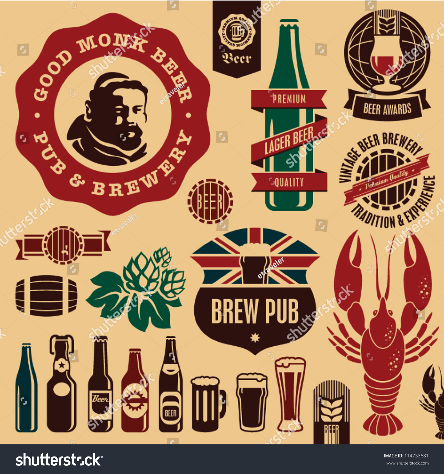 Beer Pub Labels Badges Icons Collection Vector 114733681 – Beer Label