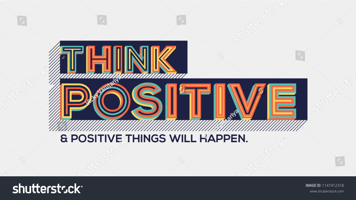 Think Positive Positive Things Will Happen Stock Vector Royalty
