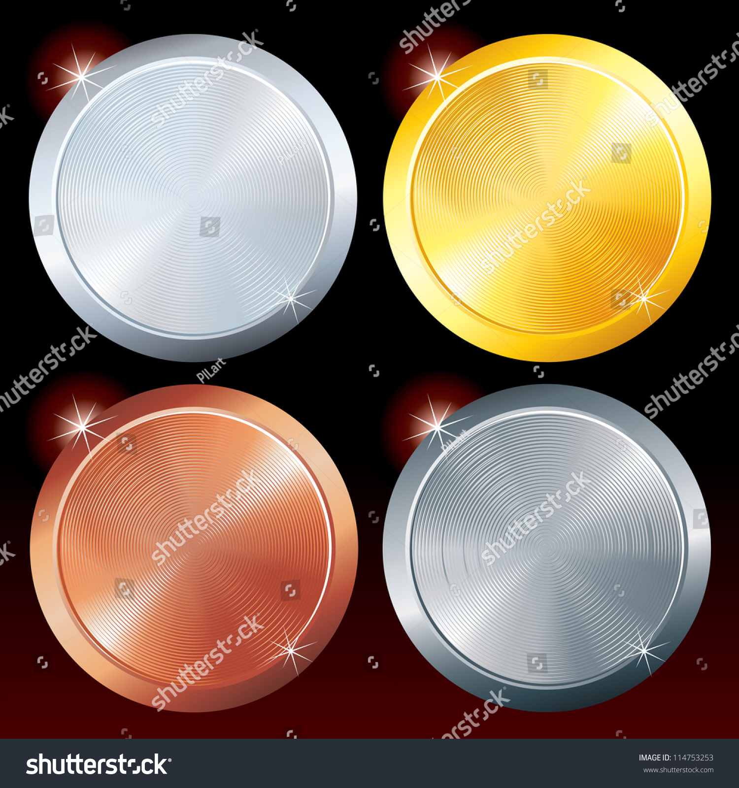 round metal plates brushed golden silver stock vector