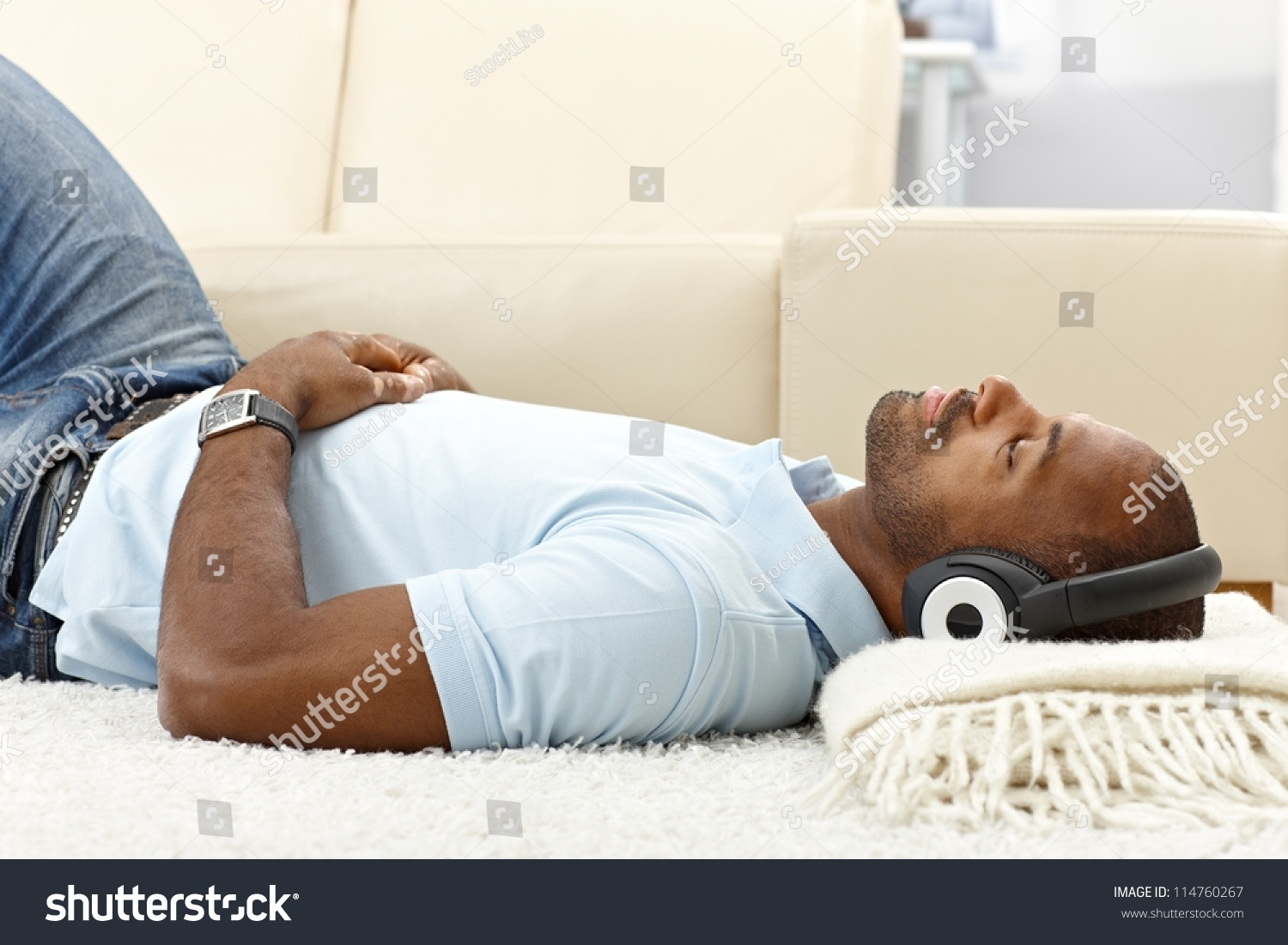 portrait casual guy relaxing music on stock photo 114760267