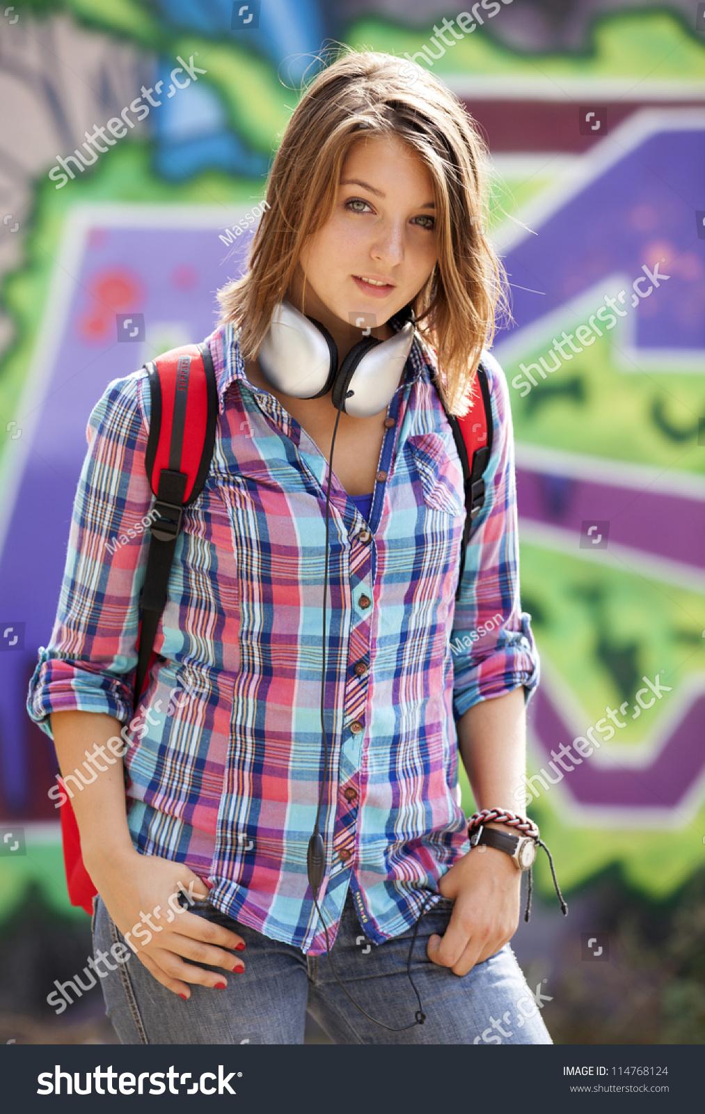 Style Teen Girl Backpack Standing Near Stock Photo