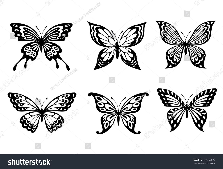 Beautiful butterflies monochrome style tattoo design stock for Tattoo style logo design