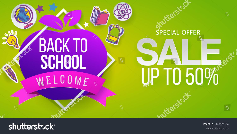 Back School Sale Apple Education Symbol Stock Vector (Royalty Free