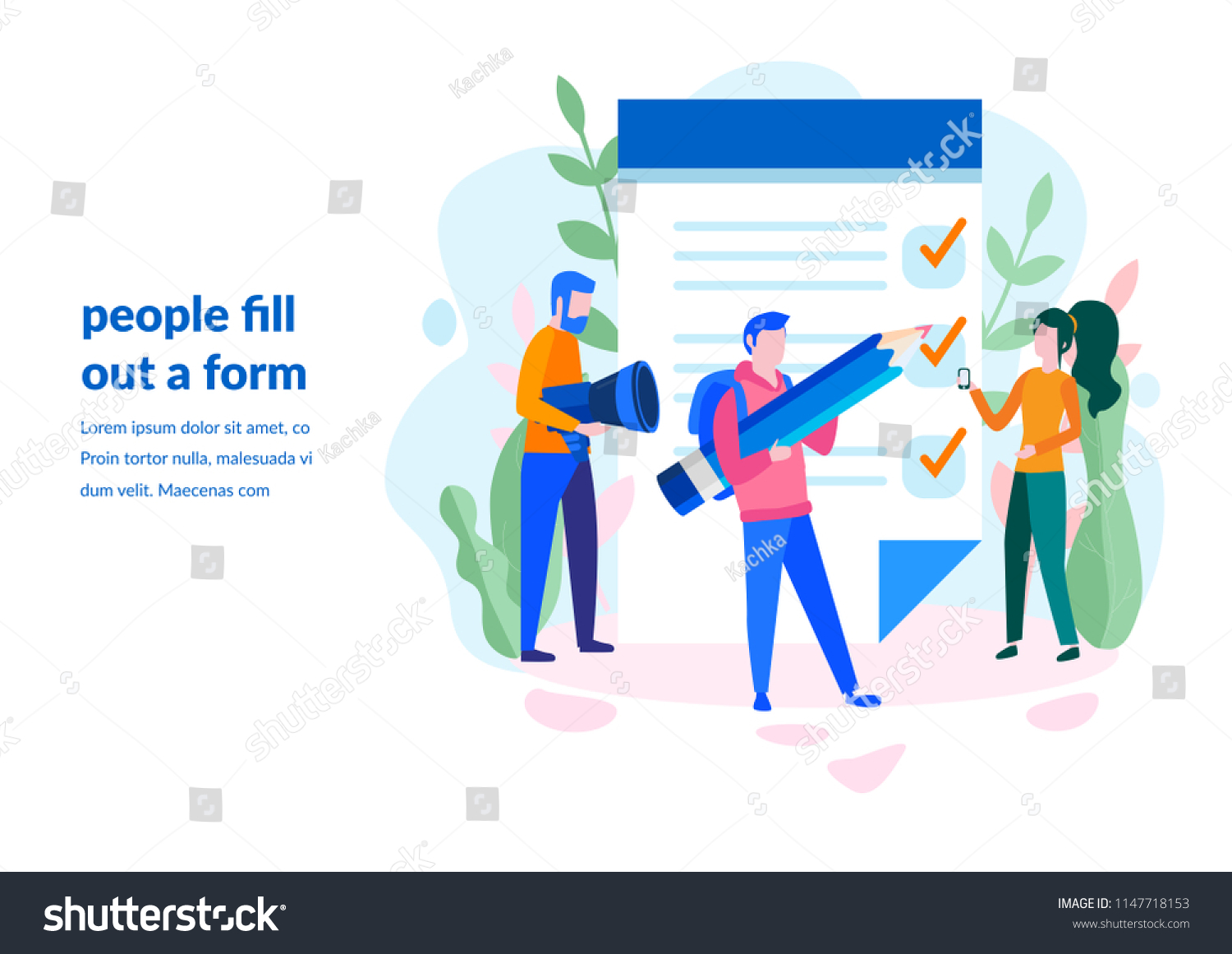 Concept People Fill Out Form Application Stock Vector Royalty Free