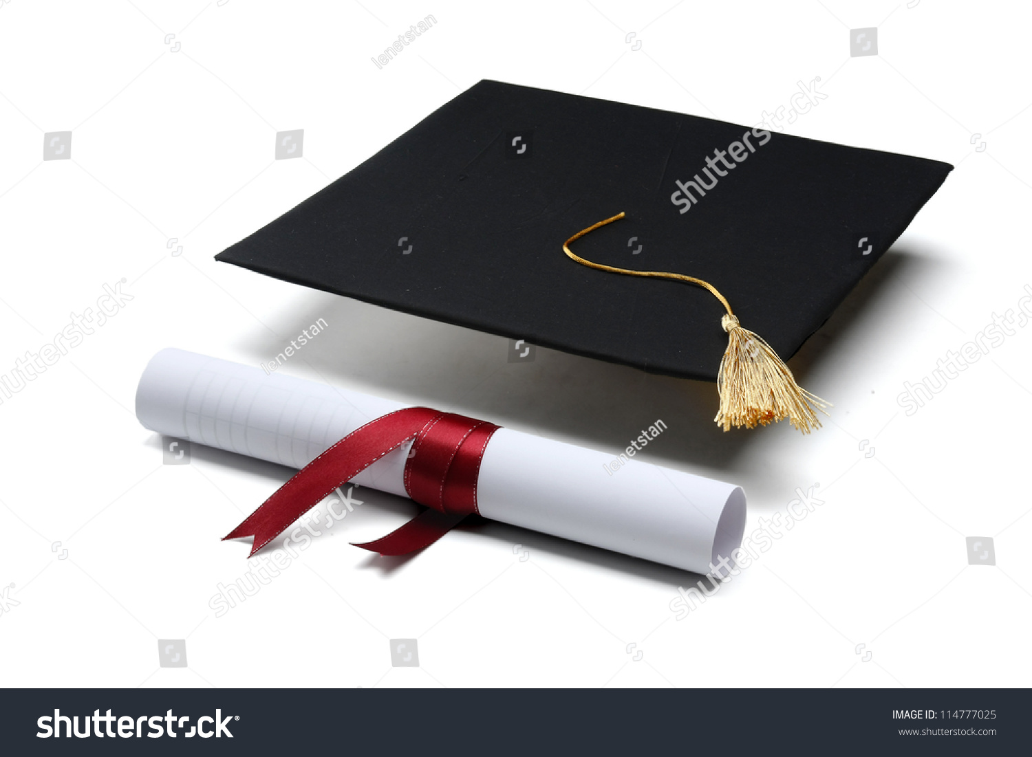 Diploma Graduation Cap Isolated On White Stock Photo (Royalty Free ...