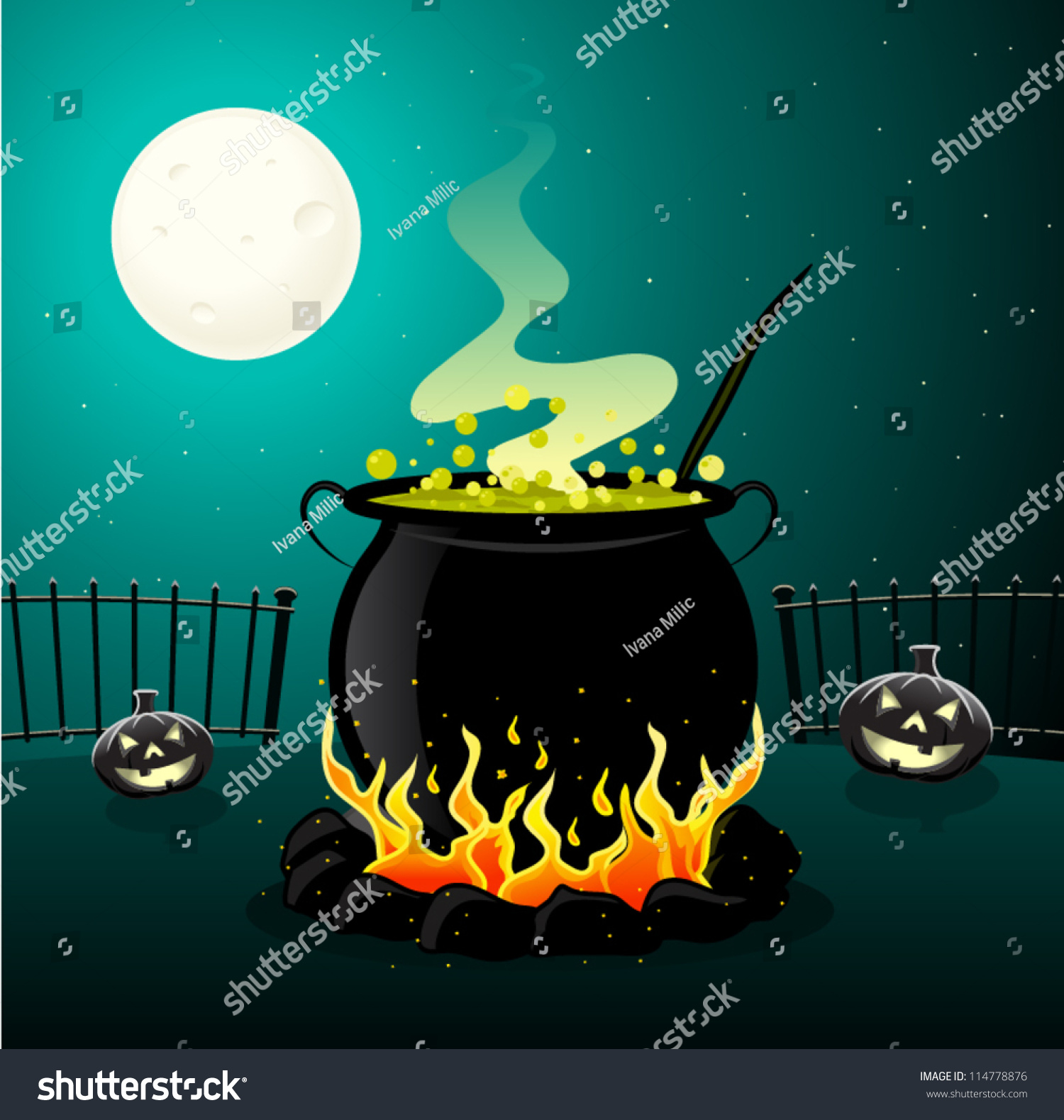 Halloween Cauldron Stock Vector 114778876 - Shutterstock