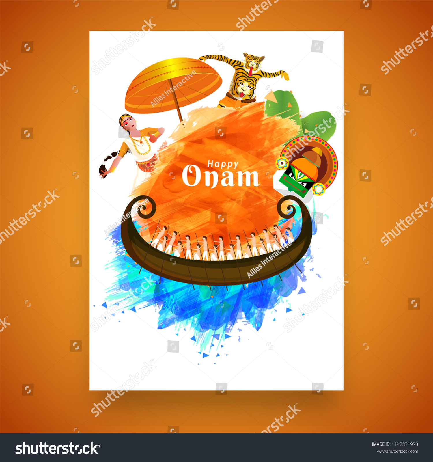 South Indian Festival Happy Onam Greeting Stock Vector Royalty Free