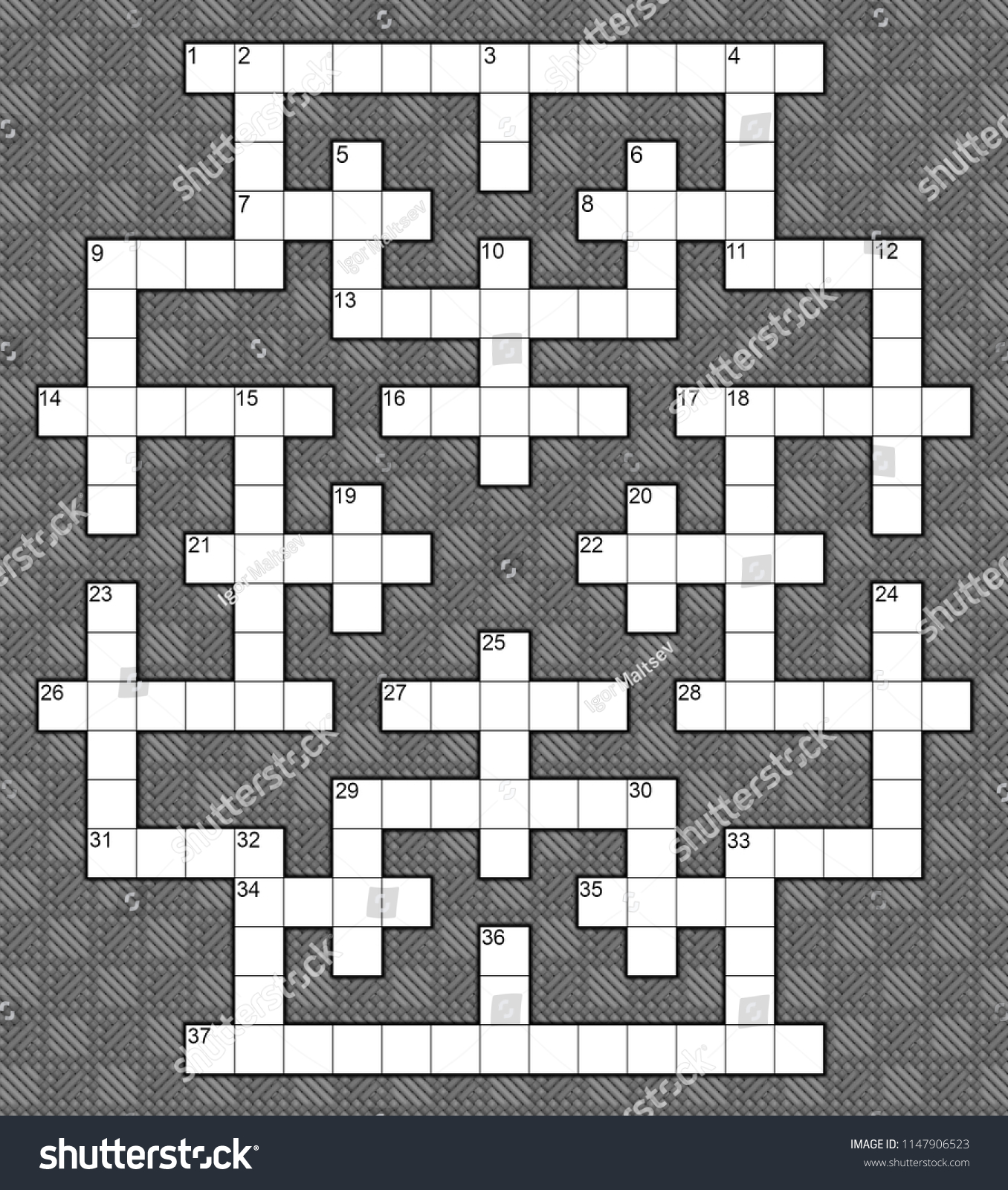 Blank Crossword Puzzle Template 37 Numbers Stock Illustration