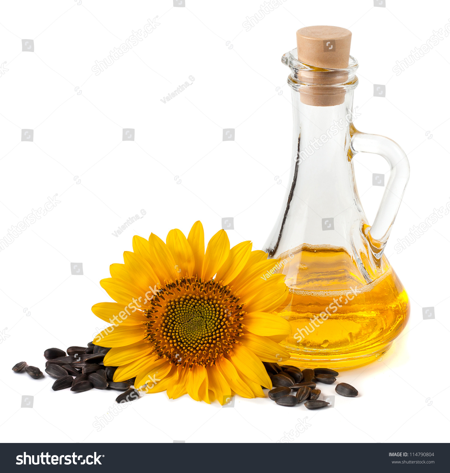 Sunflower Oil With Flower And Seeds A White Background Stock