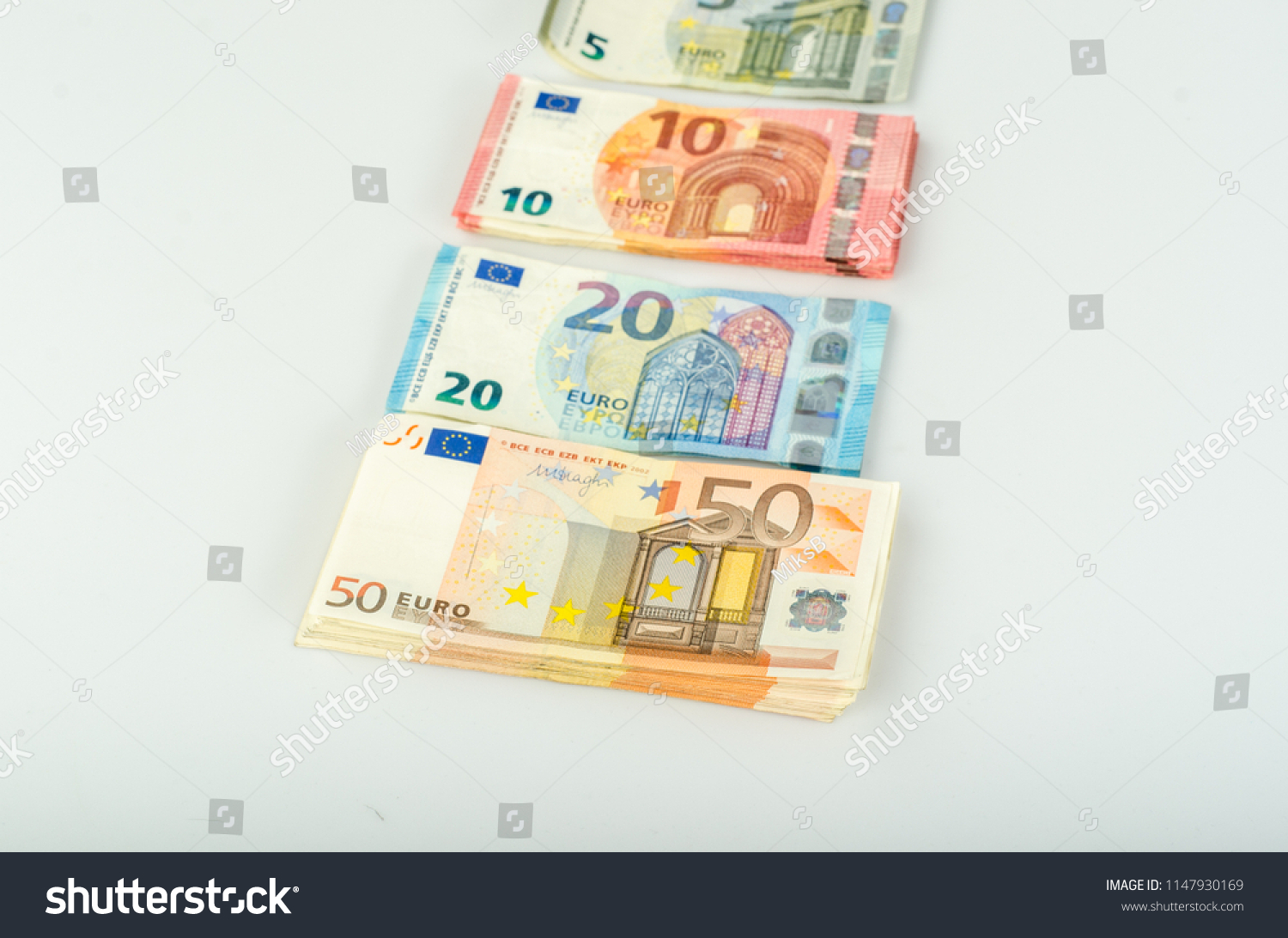 Euro Banknotes Stacked By Value On Stock Photo (Edit Now) 1147930169