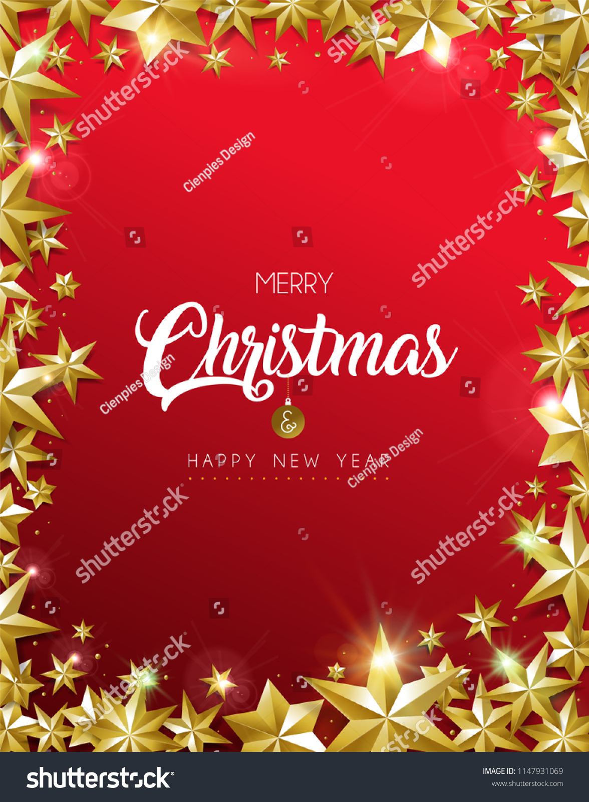 Merry Christmas New Year Greeting Card Stock Vector Royalty Free