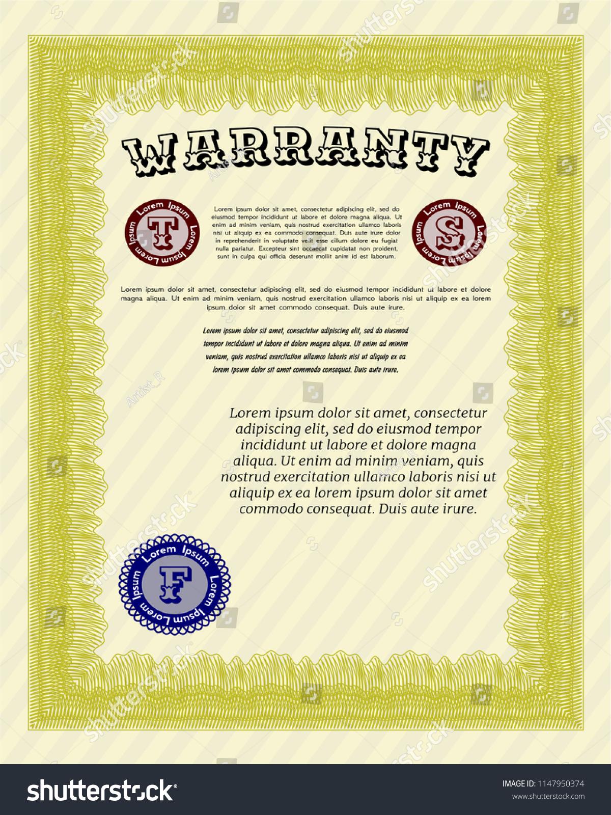 Yellow Formal Warranty Certificate Template Nice Stock Vector