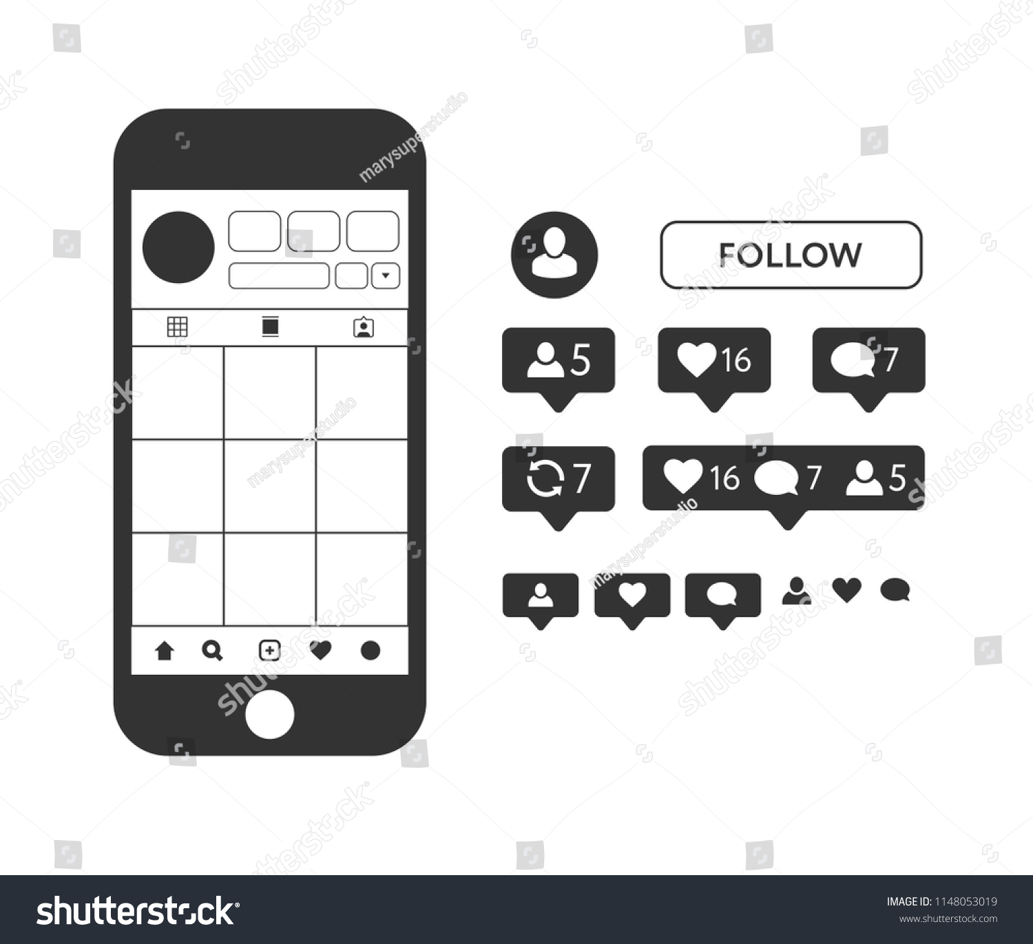 Instagram Template Mock Up Like Symbol Stock Vector Royalty Free