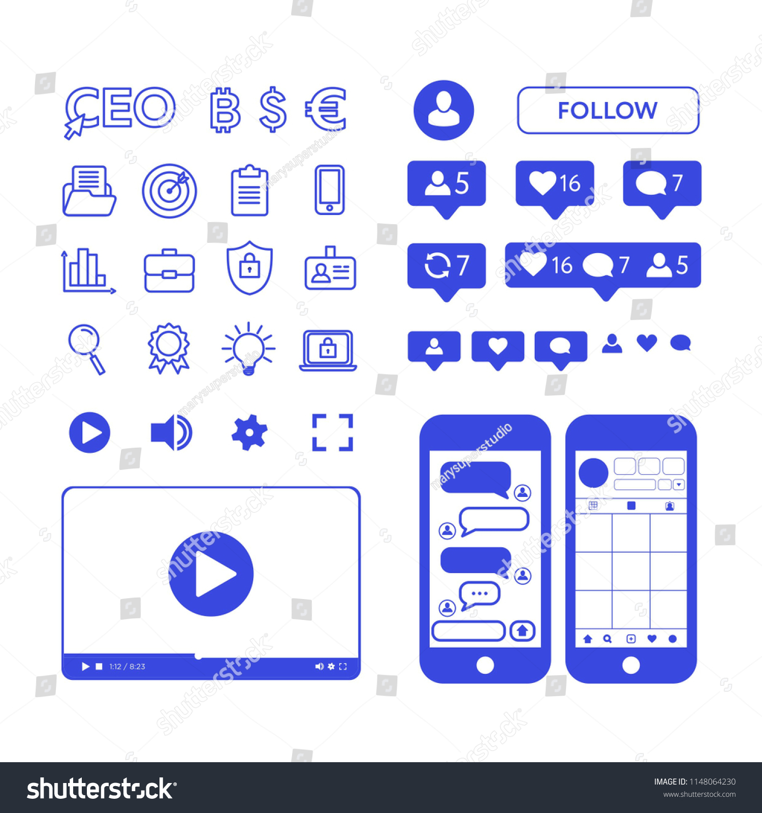Instagram Template Like Symbol Message Notification Stock Vector