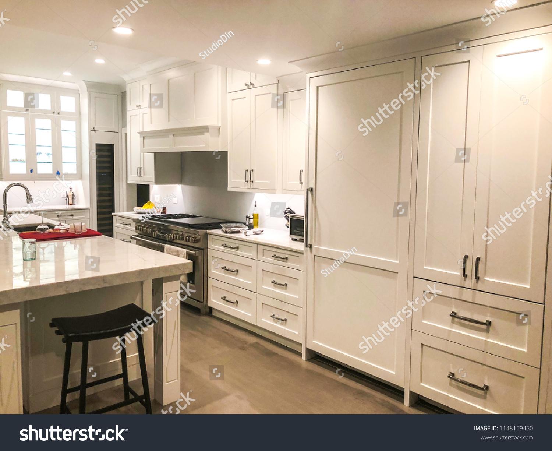 White Kitchen Design Glass Cabinet Kitchen Stock Photo Edit Now 1148159450
