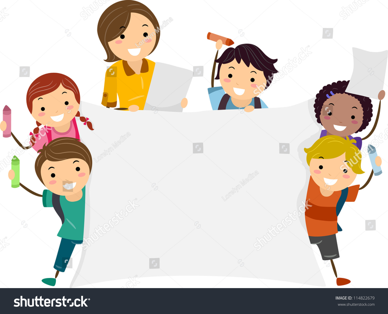 Illustration Kids Holding Large Banner One Stock Vector