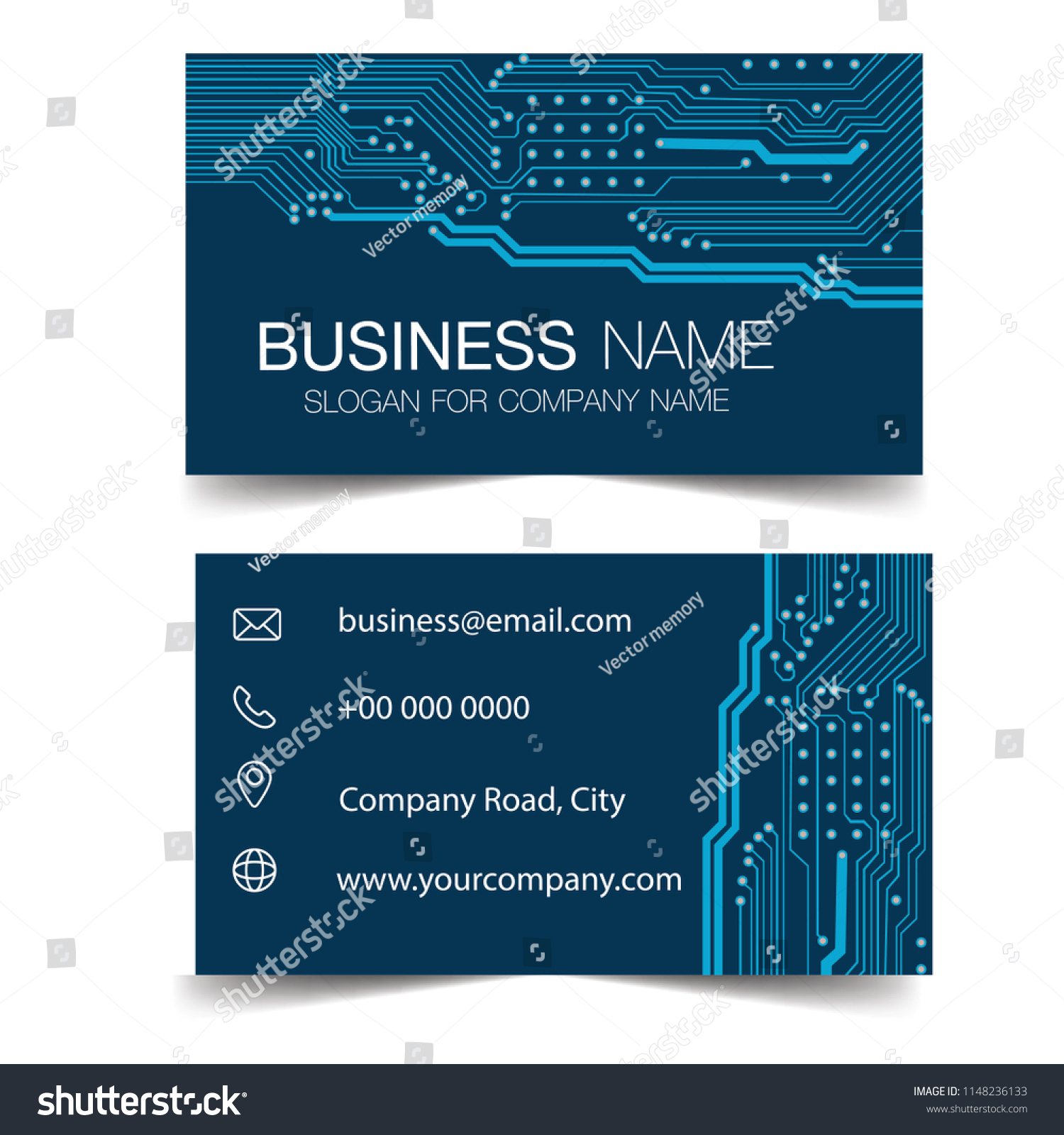 Business Card Circuit Board Electronic Computer Stock Vector Diagram Layout Hardware Technology Template Design In Rectangle