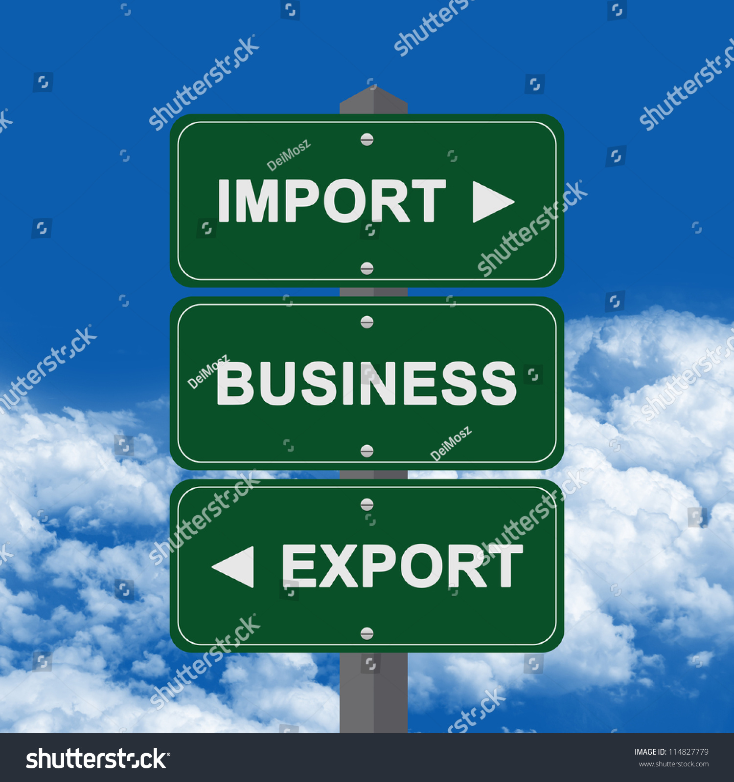 Business Concept Present By Green Street Sign Pointing To Import ...