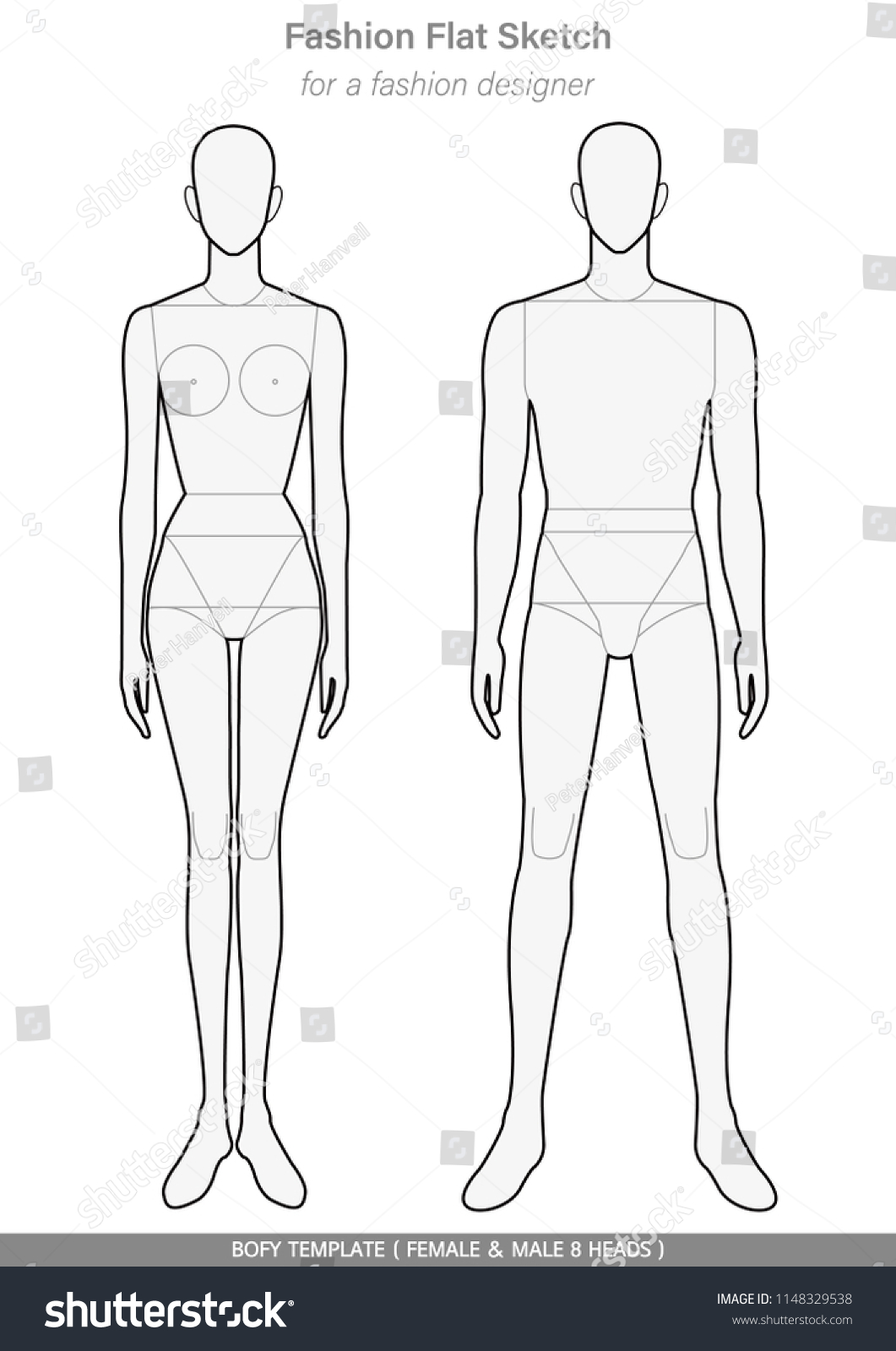 Body Template Fashion Flat Sketches Technical Stock Vector Royalty