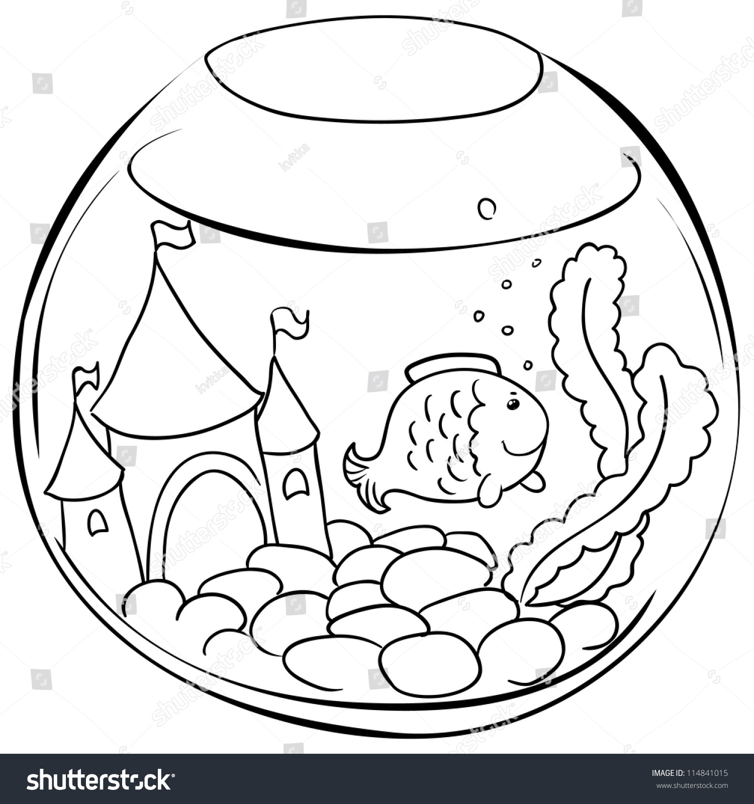 Fish tank drawing pictures - Aquarium With Little Fish Contour