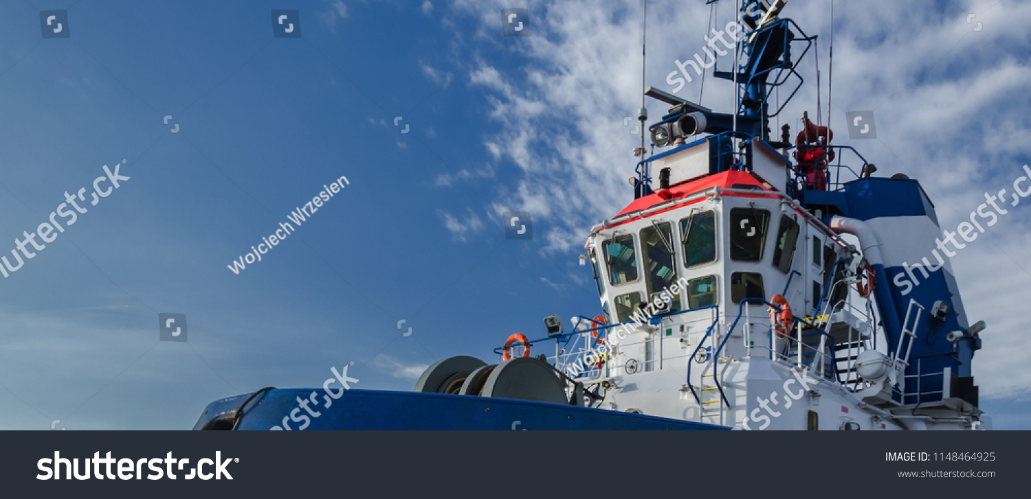 TUGBOAT Portrait Auxiliary Ship Frog Perspective Stock Photo (Edit