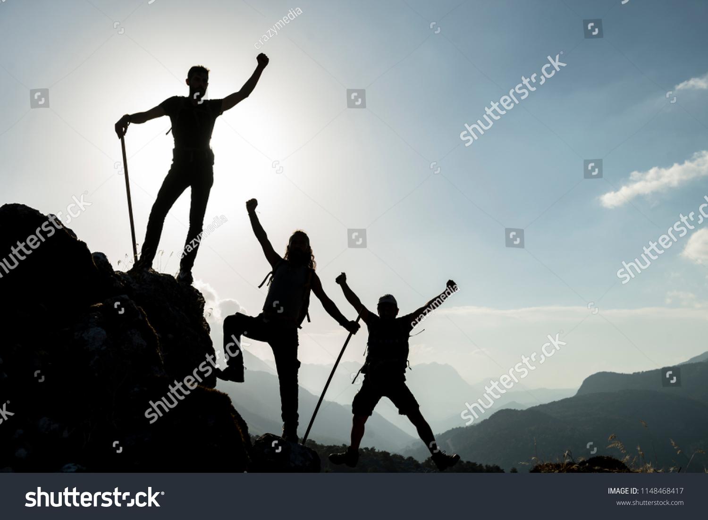Acomplishment team cohesion sense accomplishment enthusiasm stock photo