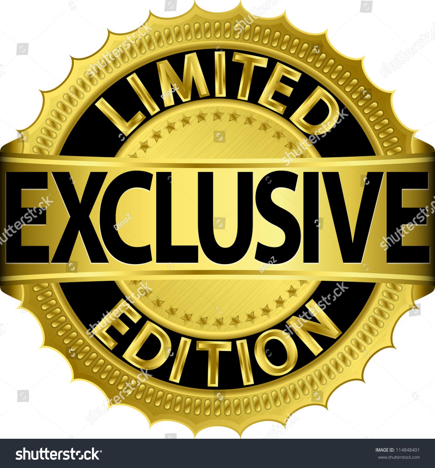 limited edition exclusive golden labelvector illustration stock vector 114848401 shutterstock. Black Bedroom Furniture Sets. Home Design Ideas