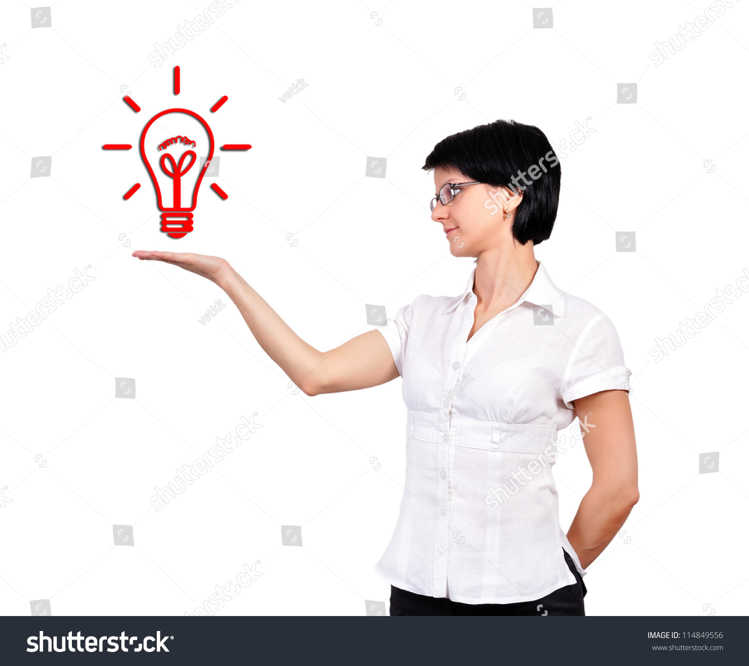Girl Holding Lamp Idea Concept Stock Photo 114849556 - Shutterstock for Girl Holding Lamp  186ref