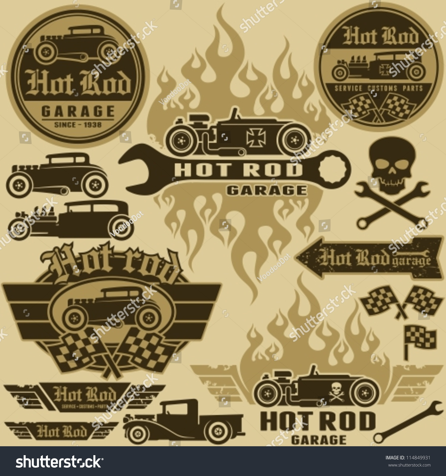 Hot Rod Style Labels Signs Set Stock Vector 114849931 - Shutterstock