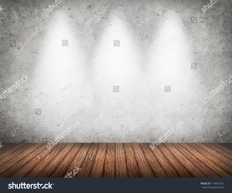 Empty Room White Wall Wooden Floor Stock Photo 114851971 ...