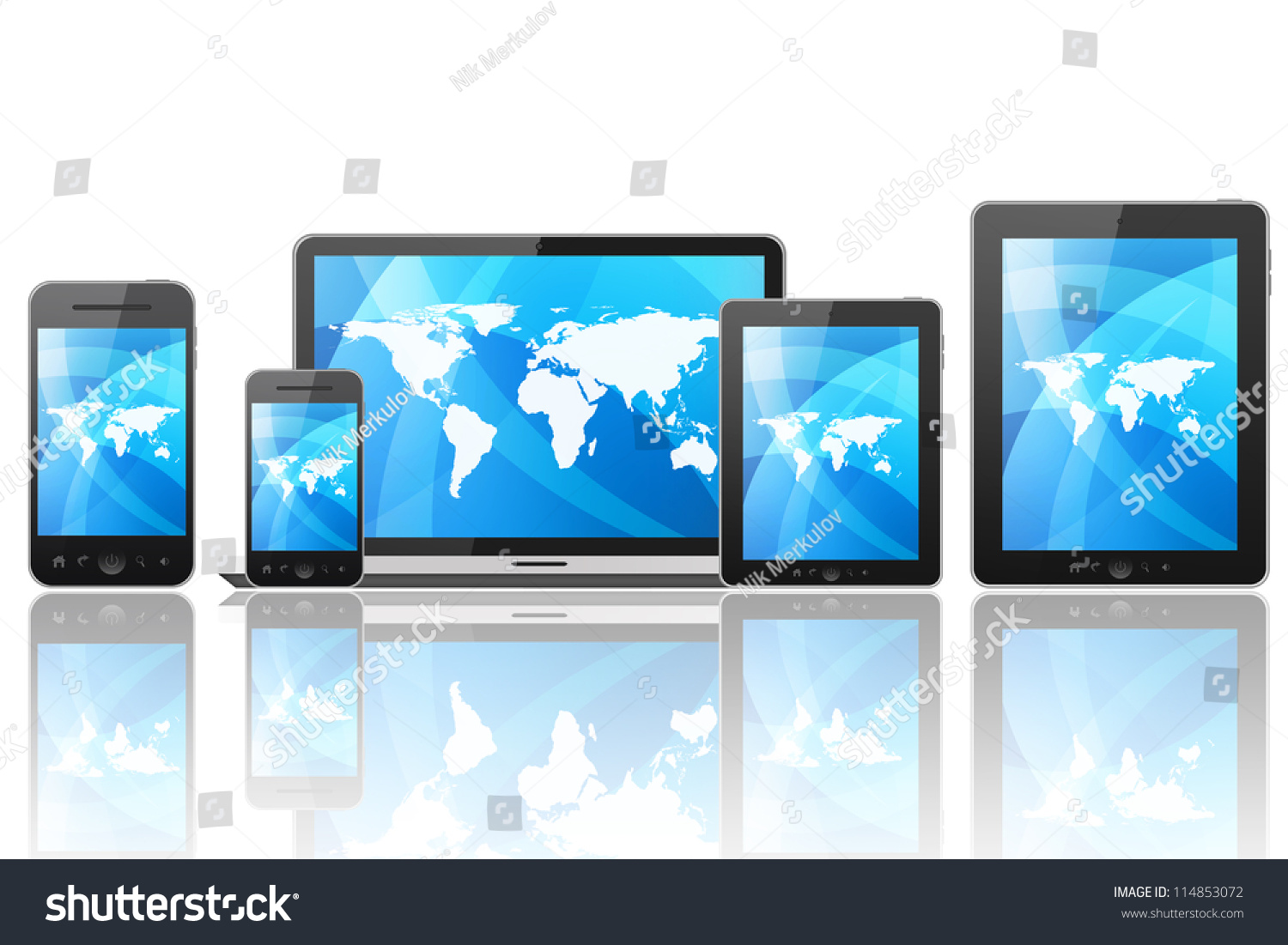 Tablet Pc Mobile Phone Different Digital Stock Illustration ...