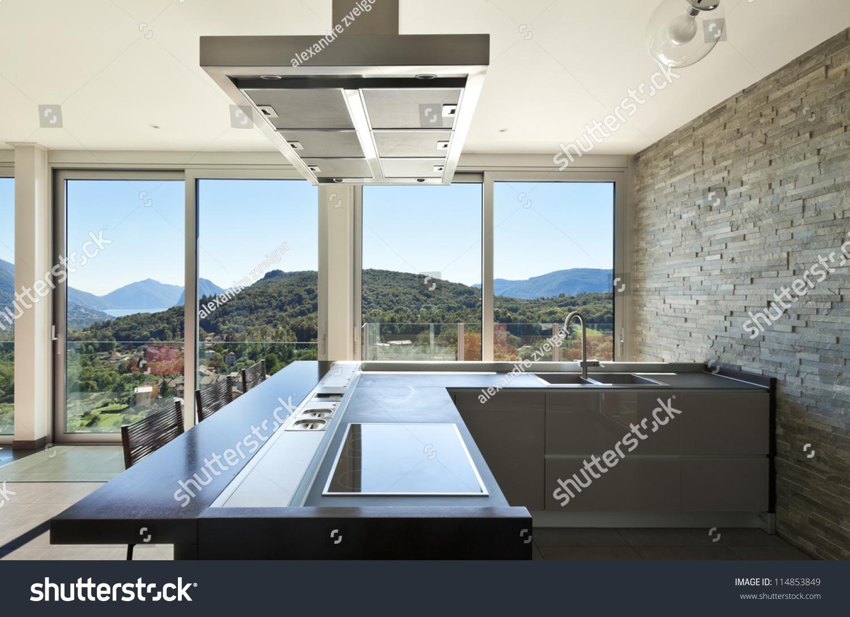 Beautiful House, Modern Style, Kitchen Stock Photo 114853849 ... - ^