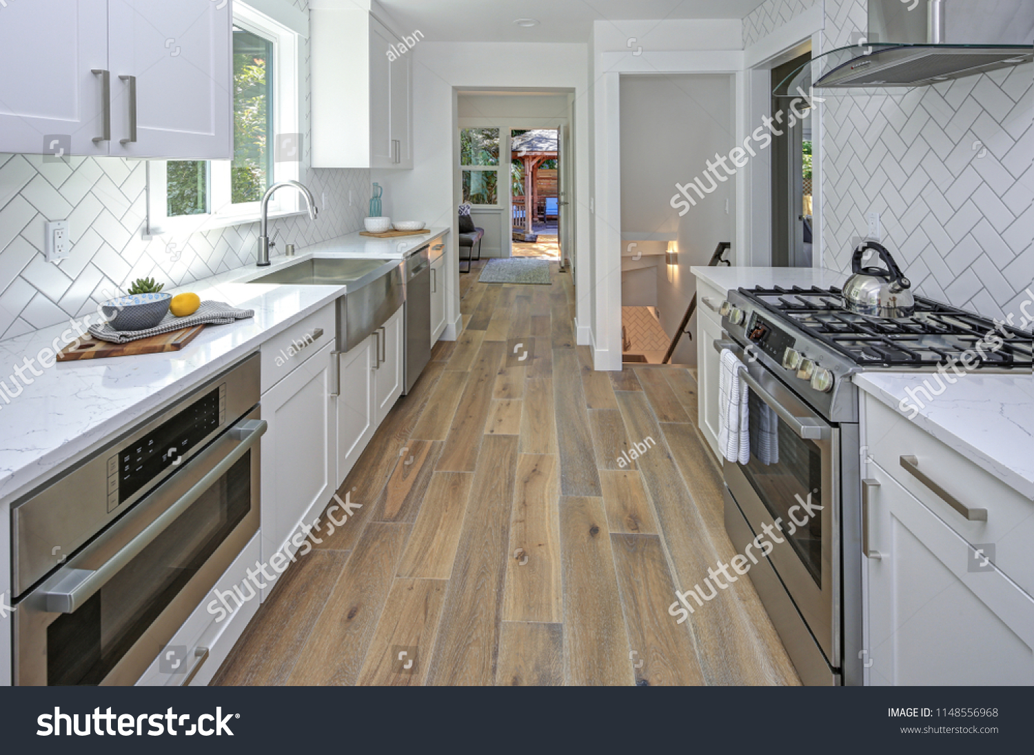 Remodeled Kitchen Room White Cabinets Marble Stock Photo Edit Now 1148556968