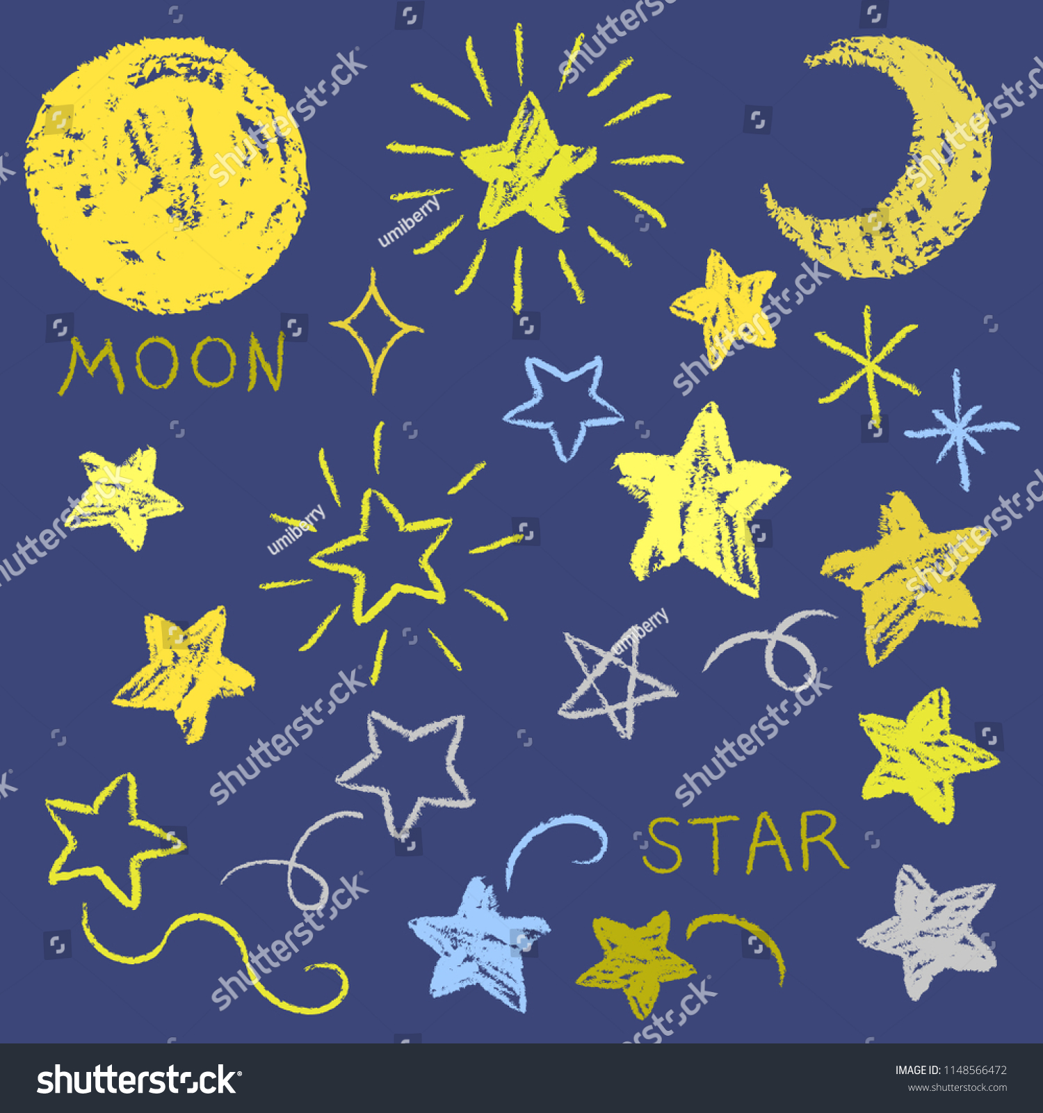 Hand Drawn Style Material Collection Moon Stock Vector (Royalty Free