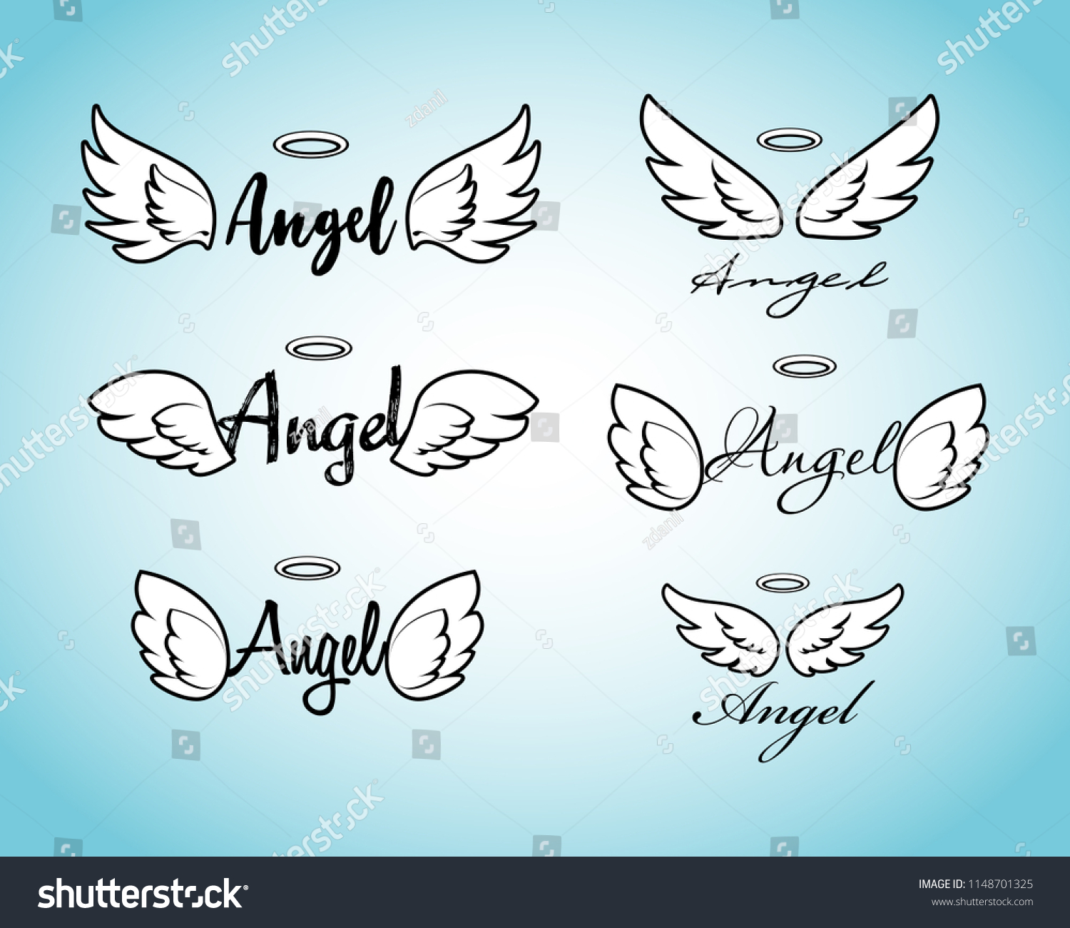 6c21c24e93b2d Doodle flying angel wings with halo. Sketch angelic wings. Freedom and  religious tattoo vector design isolated on white background.