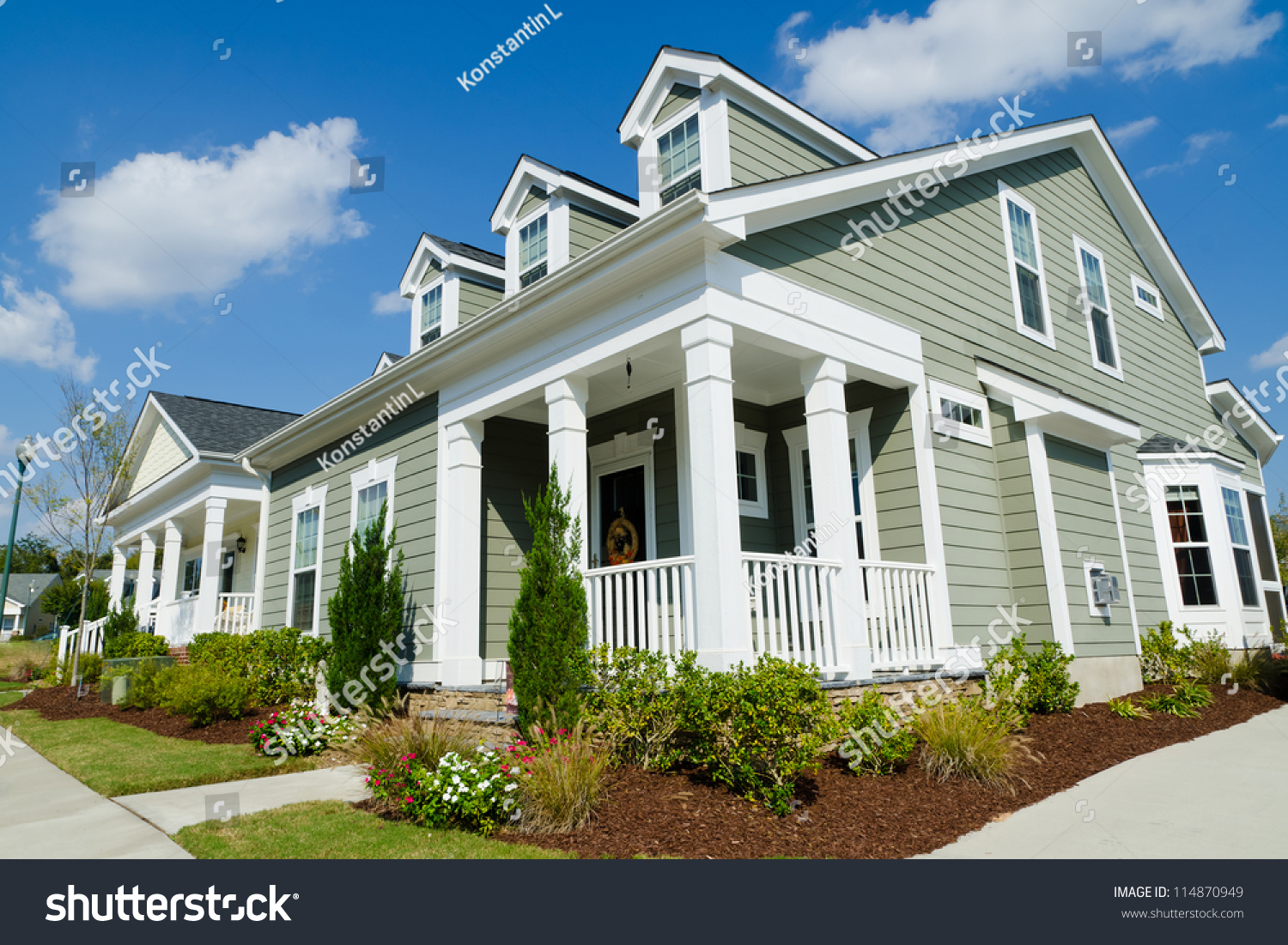 Cottage Style Homes street residential cottage style homes stock photo 114870949
