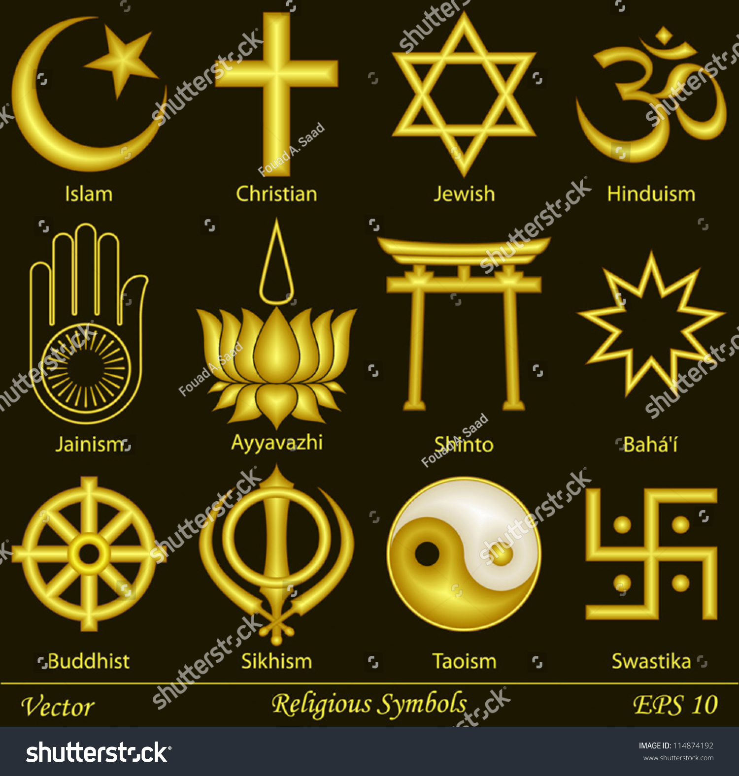 Religious Symbols Stock Vector Royalty Free 114874192 Shutterstock Circuits Circuitsymbols Jpg 646 Electrical