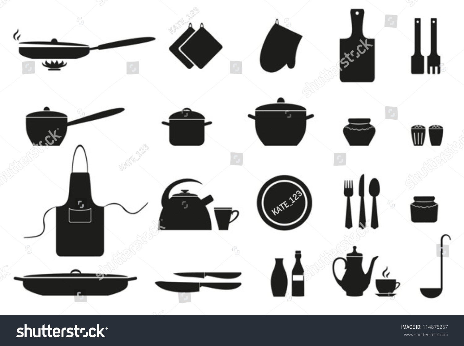 Set subjects kitchenvector eps10 non transparent stock for Kitchen set vector