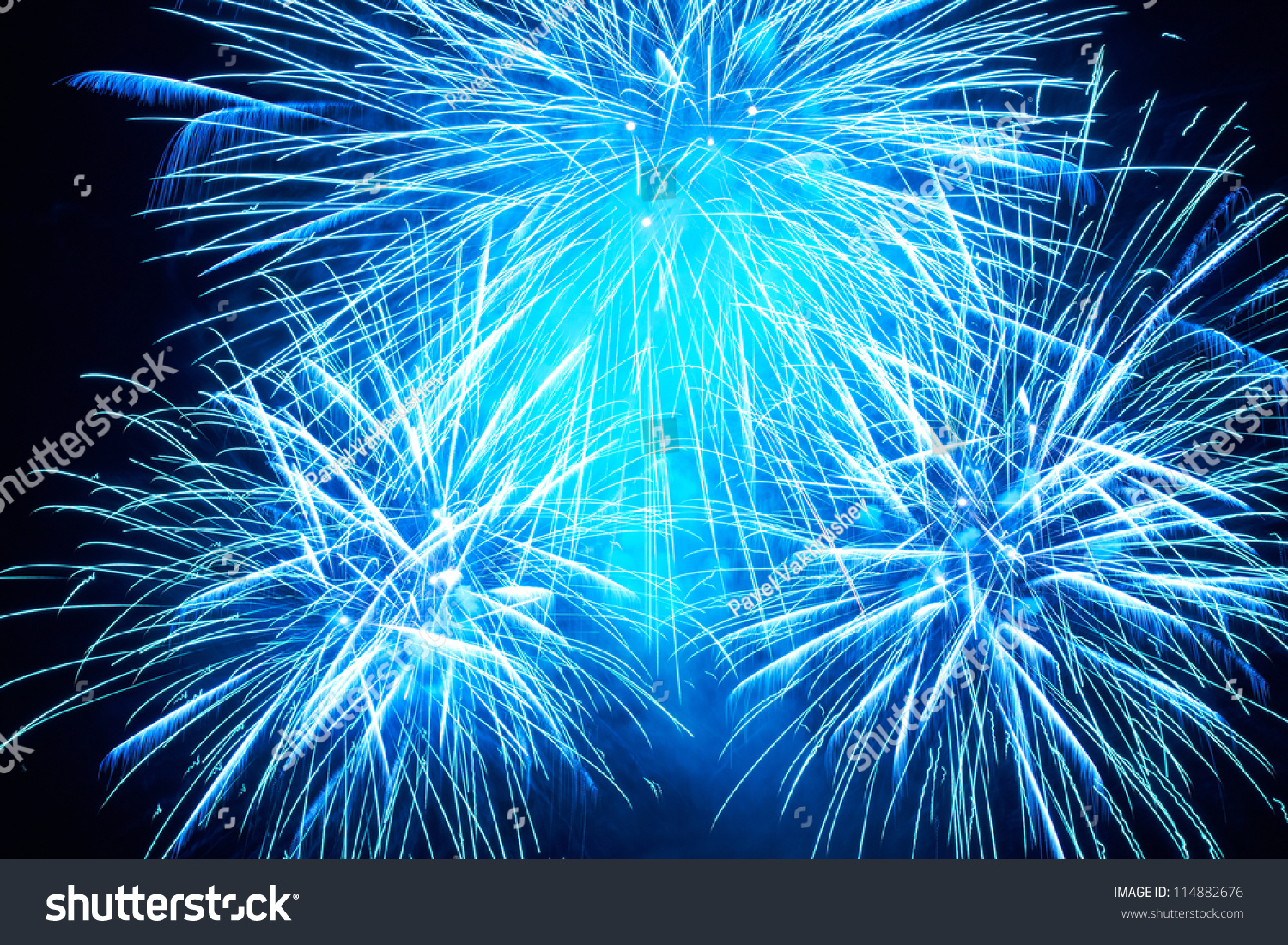 Wallpaper Salute Sky Holiday Colorful 3376x4220: Blue Colorful Fireworks On Black Sky Stock Photo 114882676
