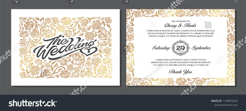 Luxury Wedding Invitation Templates Cover Design Stock Vector