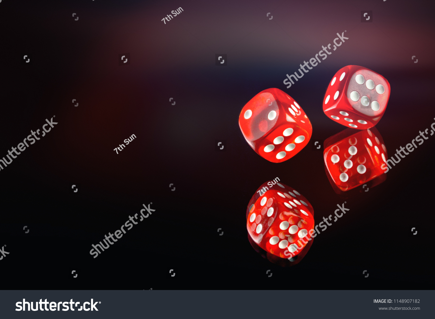 The dice fall on a dark red background. Soft tinted image. Casino gambling poker, roulette. #1148907182