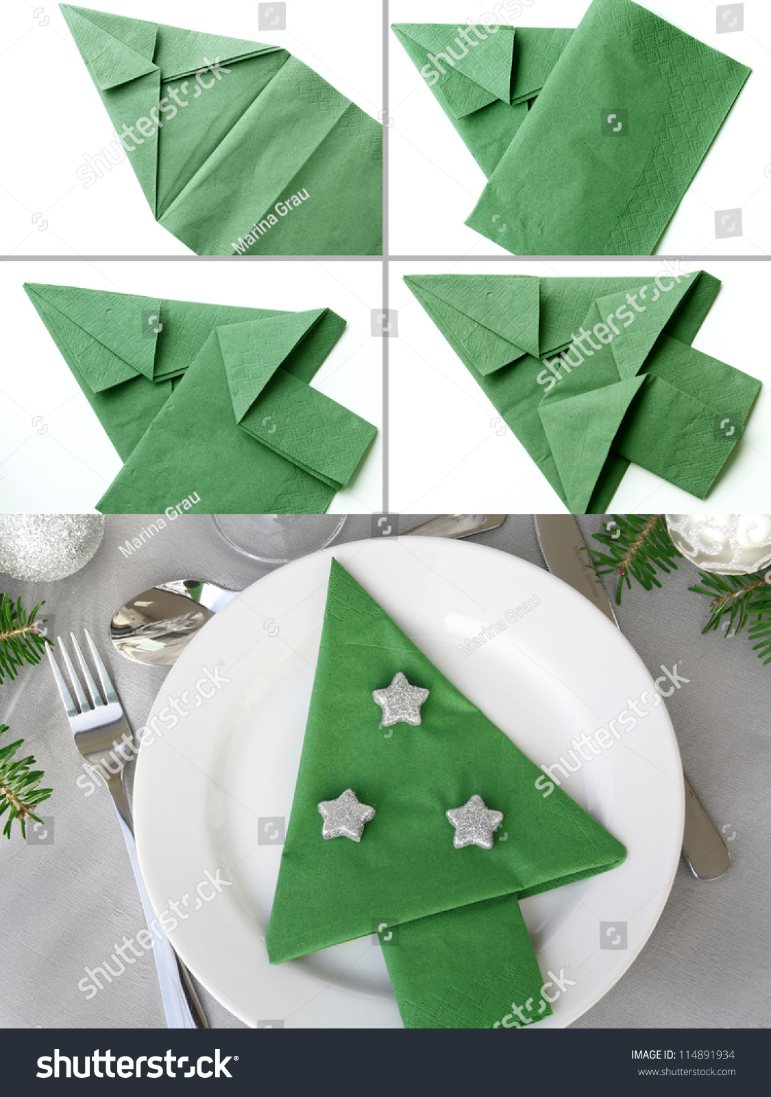 Christmas Tree Napkin Folding Stock Photo 114891934