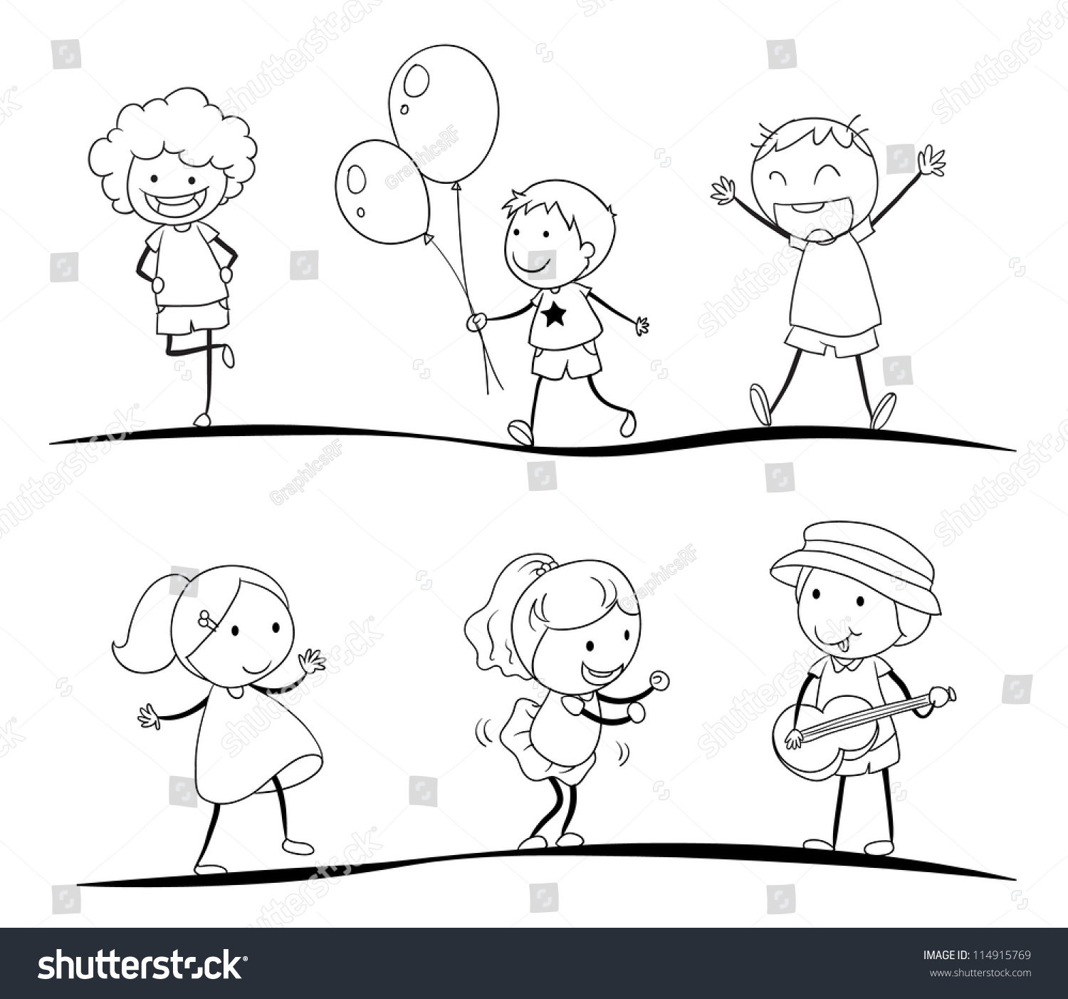 illustration of a sketches of kids on a white background - Sketches For Kids