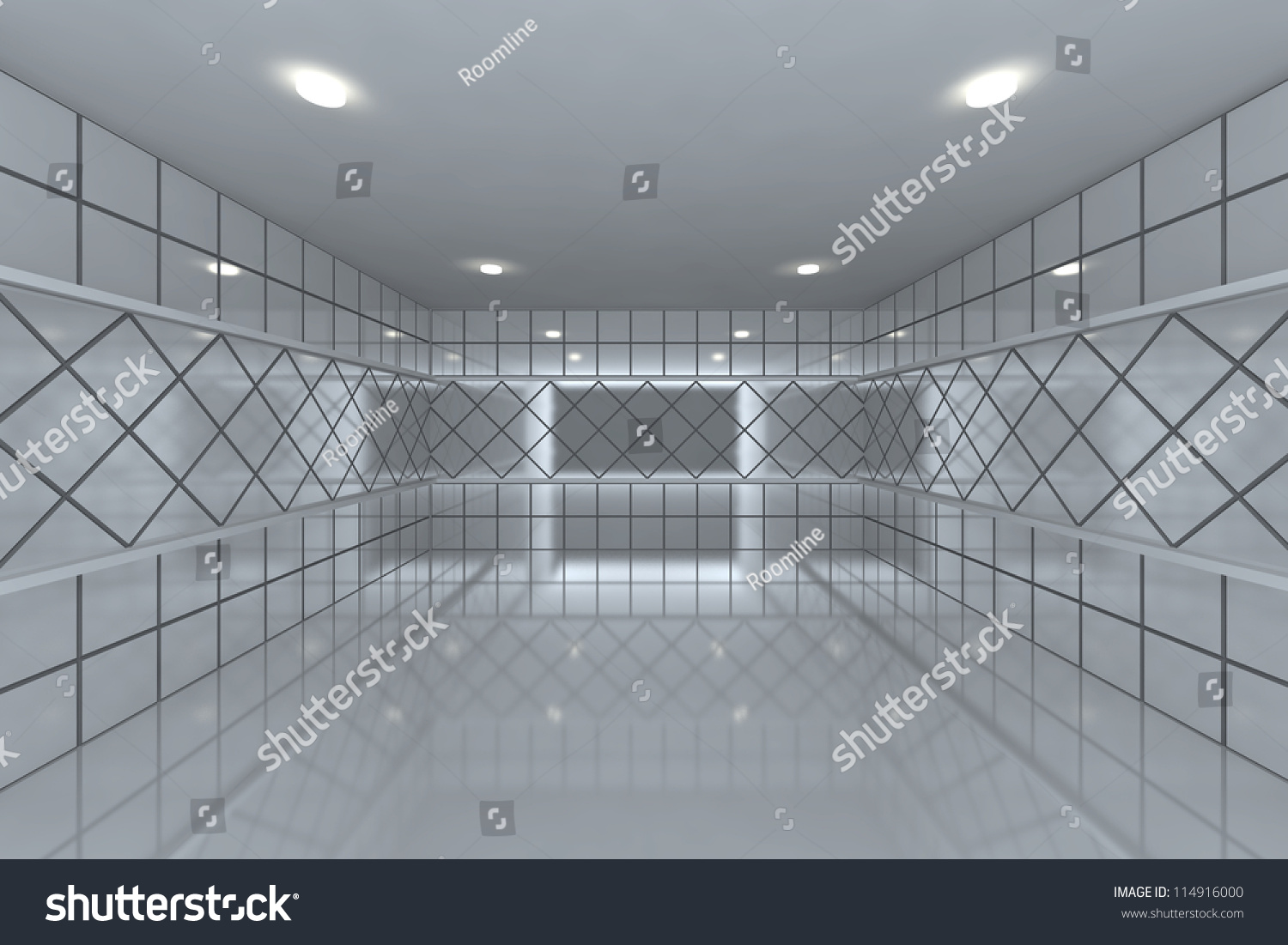 Empty room with color white tile wall   EZ Canvas