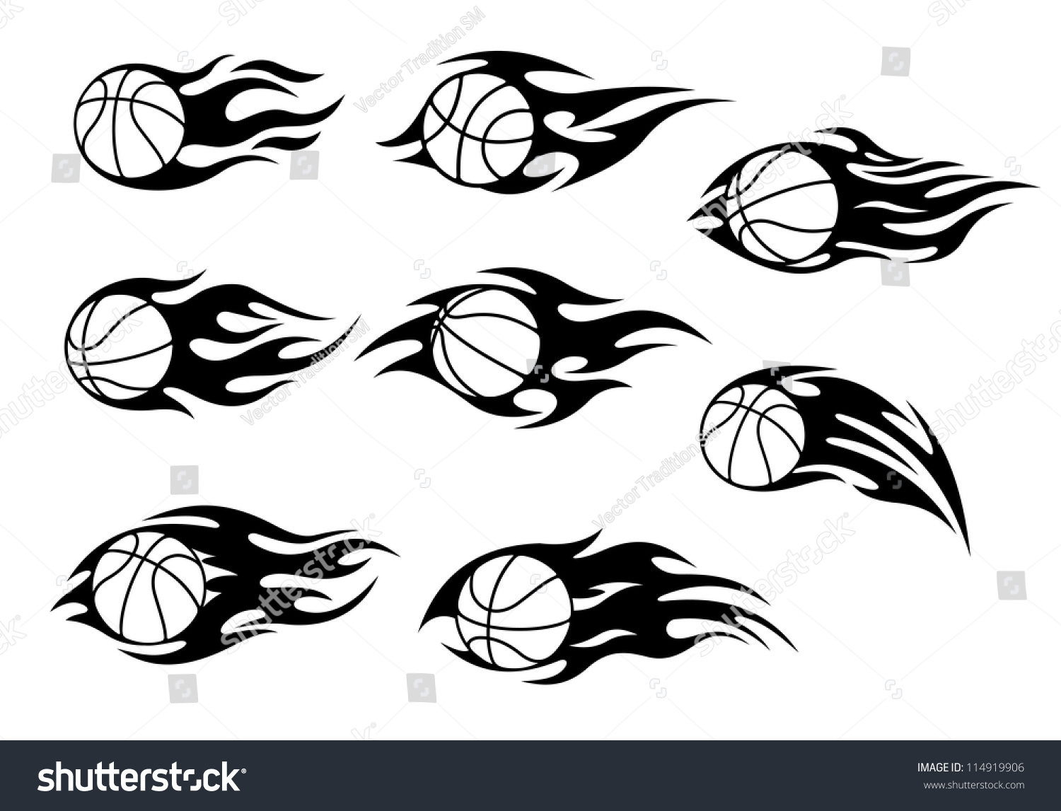 basketball balls fire flames sport tattoos stock vector