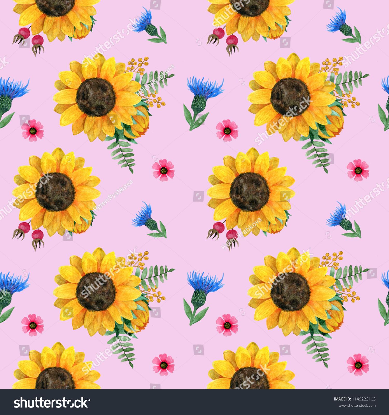 Beautiful Watercolor Seamless Pattern Sunflowersleavesbranchesferns ...