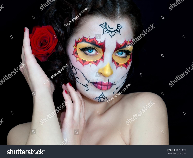 Dead Bride Woman Skull Face Art Stock Photo 114923557 - Shutterstock